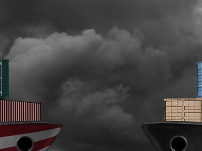 Two cargo ships facing each other